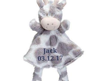 SALE Personalized Giraffe Minky Security Blanket, Personalized Security Blanket, Embroidered Baby Keepsake