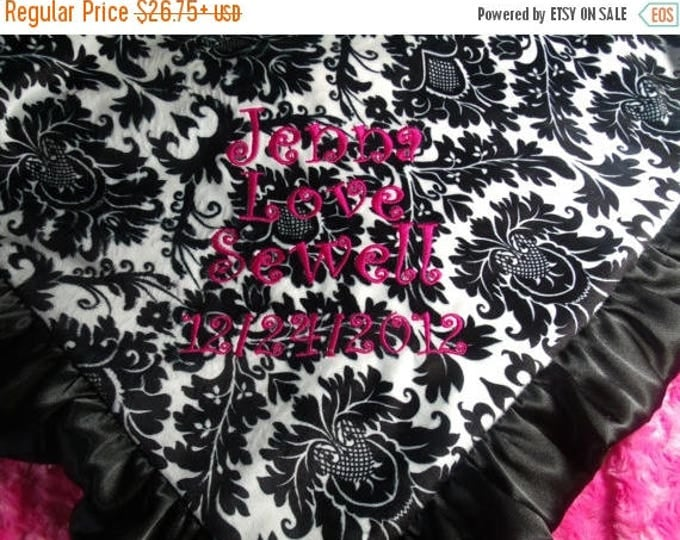 SALE Fuchsia Pink and Black White Damask Minky Baby Blanket Personalized Can Be Personalized