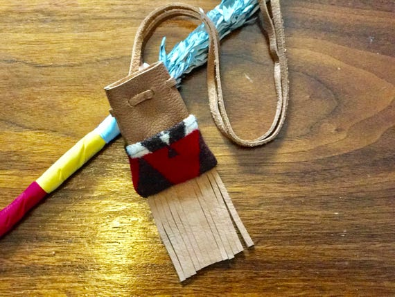Fringed Medicine Bag / Amulet Bag Wool and Leather Red & Brown