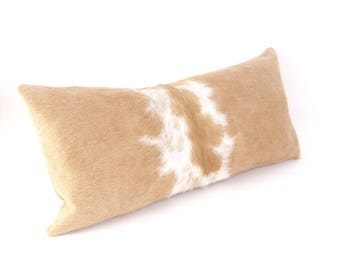 Brown and Ivory Cowhide Lumbar Pillow ~ BEST SELLER!  Palomino Hair on Hide Pillow