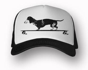 DACHSHUND Trucker Hat (+ Colors) - Zen Threads - Hand screen printed in California - FREE SHIPPING zen threads