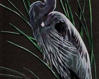 Great Blue Heron Art Note Card