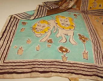 "March ""comes In like a Lion""....1950's silk scarf by Glentex with a whimsical LION theme:  36"" square, no damages - to be worn with ""pride"""