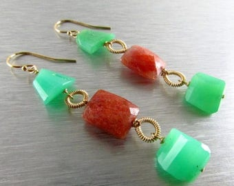 25 OFF Chrysoprase and Sunstone GF Wire Wrapped Dangle earrings