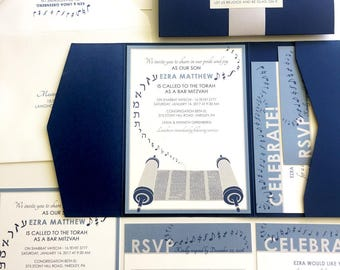 Musical Bar Mitzvah Invitation, Party Invite, Navy Blue Bat Mitzvah Invitations, DJ Torah, Navy Pocketfold, Silver Grey Bellyband, Stickers