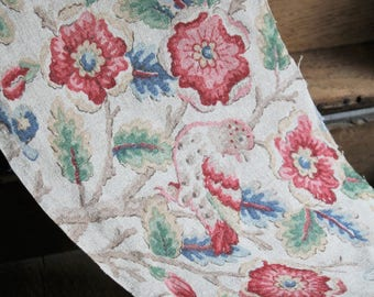 Vintage Printed Linen Hand Block Printed 1940 Oatmeal Flour Grain Sacking 18th Century Style Bird Floral Tudor Rose Pillow Cushion Fragmant