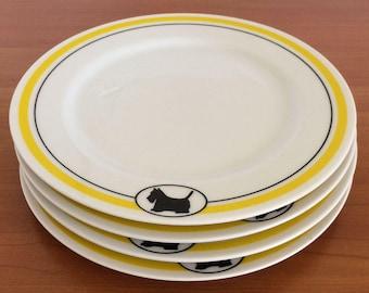 Dept 56 Scottie Cafe Plates Set of Four, Desert Plates,  80's Dishes, Vintage Scottie Dog