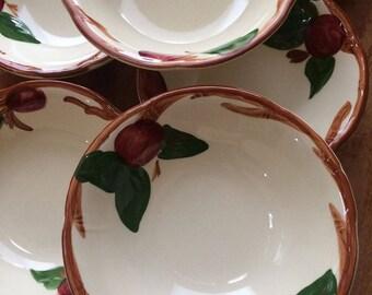 "Vintage Franciscan 6"" Apple Bowls, Set of Seven Collectible Cereal Bowls"