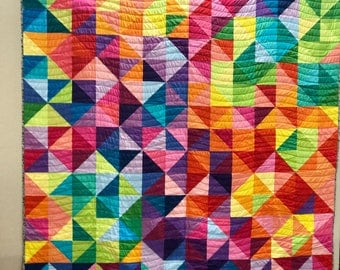 Multi colored HST quilt