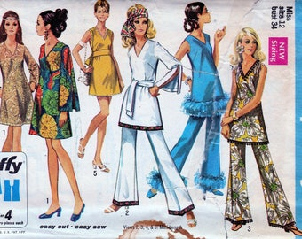 1960s Vintage Sewing Hippie Mod Dress Micro Mini Dress 60s Tunic High Waist Bell Bottom Pants DIY Simplicity 8234 Size Small Bust 34 UNCUT