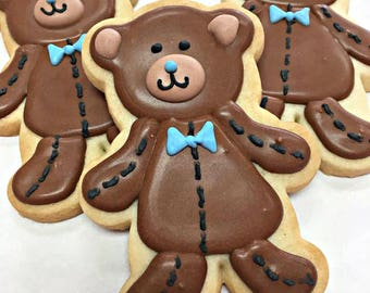 TEDDY BEAR COOKIES, 12 Decorated Sugar Cookie Party Favors
