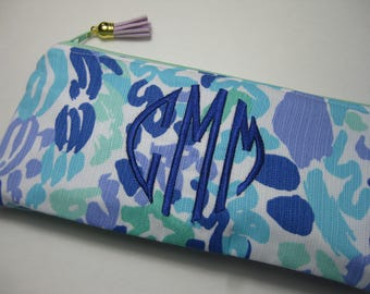 Lilly Pulitzer (Nice Ink) Pencil Case, Make Up Bag, Cosmetic Bag, Back to School, Preppy, Bridesmaid Gift, Stocking Stuffer