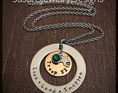 Scout Troop Necklace - A circle is round - stainless steel 1 sided washer & star charm - bronze disc - choice of chain and Swarovski crystal