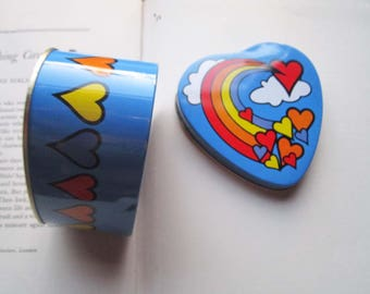 Vintage Tin Box, Heart Shaped Tin, Colorful Heart Box, 1980's Pop Art Tin, Rainbows Hearts & Clouds, Weddings Ring Bearer, Giftco Hong Kong