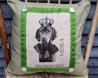 Vizsla in French Crown Pillow, French Country Decor, Farmhouse Decor, Linen Print , Vizsla Printed on Linen with Crown