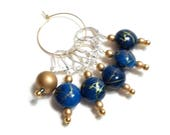 Removable Stitch Markers Crochet Row Markers Dark Blue Gold Locking Knitting Supplies DIY Crafts
