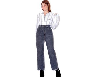rare 80s FORENZA JEANS / charcoal grey pepper black color / high waisted jeans mom jeans ripped jeans cropped jeans raw hem distressed jeans