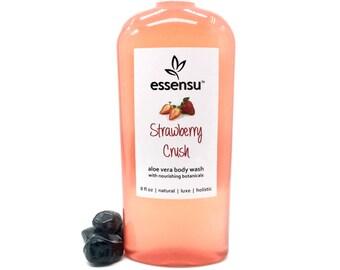 Strawberry Crush Aloe Vera Nourishing Natural Body Wash | Sensitive Skin | Luxury Formula | Botanical Extracts | No Sulfates | Vegan - 8 oz