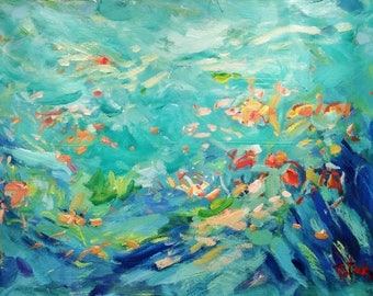 Large Expressionist Painting, large seascape abstract painting, ocean art tropical fish painting coral reef sea painting modern art