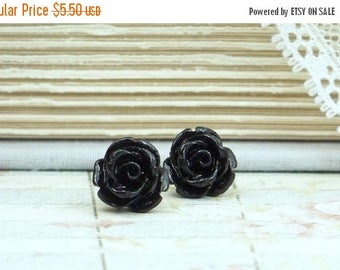 Black Rose Studs Rose Earrings Black Stud Earrings Flower Earrings Black Rose Earrings Hypoallergenic