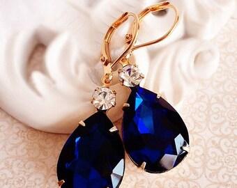 SALE 20% Off Bridesmaid Gift - Earrings - Bridesmaid Jewelry - Navy Earrings - MAYFAIR Navy