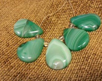 Natural Madagascar Agate Set - Green Teardrops #1