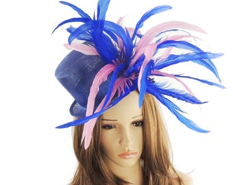 Royal Blue and Pink Fascinator Ascot Kentucky Derby Proms **SAMPLE SALE**
