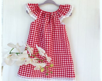 Girls red gingham summer dress, boho style dress, flutter sleeves, toddler red checkered dress, little red riding  hood dress picnic dress