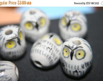 SUMMER CLEARANCE Cute Ceramic Owl Beads or Pendants -20mm x 15mm - 5 pcs