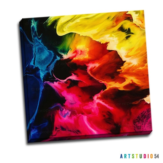 """Liquid Art Painting on Canvas - 6""""x6"""" to 36""""x36"""" - 1.25 Thick Bar Gallery Wrapped Canvas - artstudio54"""