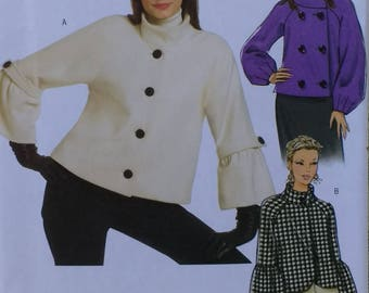 High Hip Jacket Butterick B5088 MIsses High Jacket High Hip Lined Jacket Woolen Tweed Jacket Pattern Misses Sizes 6 8 10 12