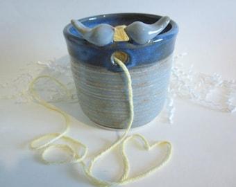 Succulent planter, Yarn bowl, Knitting yarn holder, dusty blue yarn bowl, Ceramic yarn bowl, ceramic bird planter