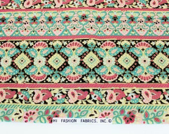 TWO Yards Pink, Brown and Aqua Cotton Fabric, Hi Fashion Border Print Fabric with Gold Highlights, Quiltsy Destash