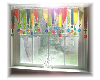 Eye Candy  Stained Glass Window Treatment Kitchen Valance Curtain