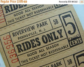 ON SALE 5 Carnival Circus Rides Awesome 1950s  Nostalgic Antique Tickets