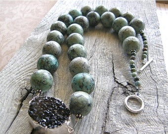 Summer Sale 20% Off Bold African Turquoise and Black Druzy Statement Necklace, Chunky Large Stone Necklace