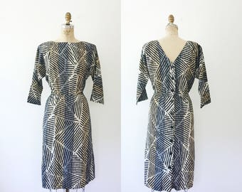 vintage 80s dress / 1980s dress / Optic dress