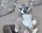 Mainecoon OOAK Artist Teddy Kitten 9 inch cat Memory gift Pet Portrait toy Fluffy cats maine coon custom order