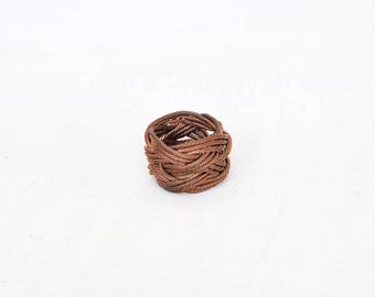 copper, twisted wire, sailor knot, woven, knot ring, Turks head, monkey fist, one of a kind, handmade, gift for mom, unisex,paracord, metal,