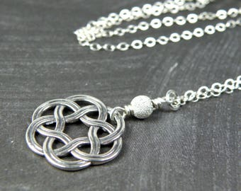 Silver Celtic Necklace, Celtic Knot Pendant, Sterling Silver, Modern Layering Necklace, Minimalist Fashion, Metal Geometric Handmade Jewelry