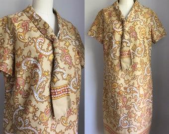 Vintage 1960s Cotton Autumn Paisley Ascot Tie Scarf Shift Dress Size XL