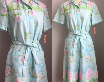 Vintage 1960s NOS Ladies and Apple Blossom Trees Novelty Border Print Day Dress Size Small