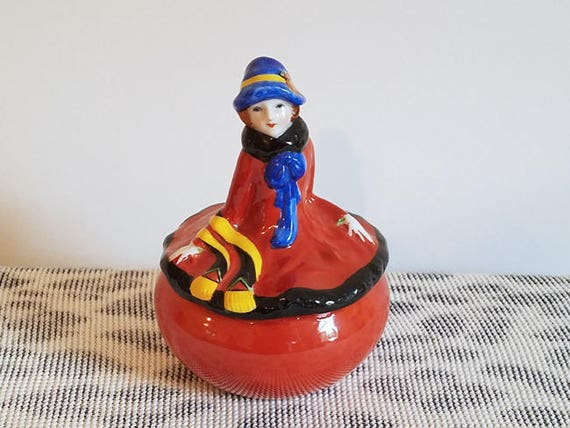 Art Deco Japanese hand painted flapper girl  figurine covered  dish / trinket box / cache pot / ceramic / pottery / Asian / Oriental / Japan