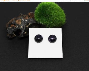 Christmas In July Sale - Blue Goldstone Gemstone . 10mm Round Dome . Sterling Silver Posts Studs Earrings . Midnight Blue . E16163