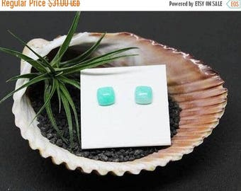 Christmas In July Sale - Amazonite Gemstone . 8mm Cushion Squares . Sterling Silver Posts Studs Earrings . Bright Aqua Blue . E16185