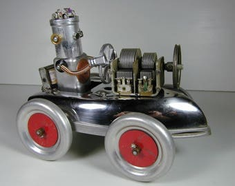 ROBOT CAR Found Object Robot Sculpture Assemblage
