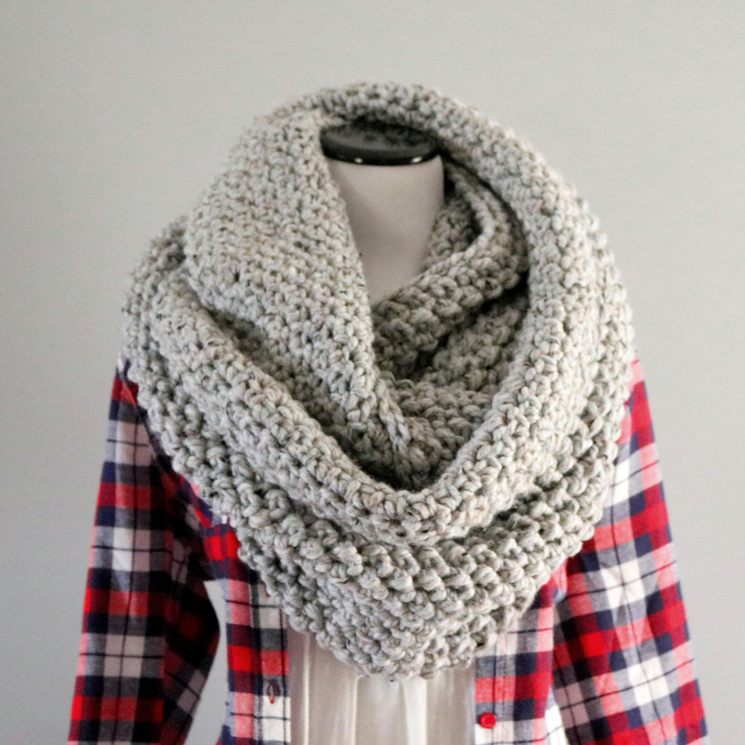 scarf made in strands a grey light loop chunky infinity from pin