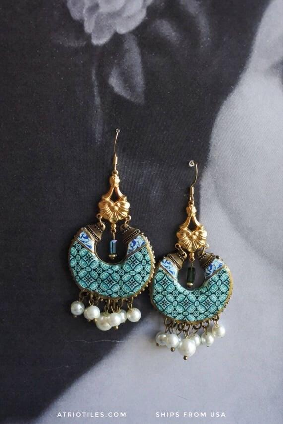 Earrings Chandelier Portugal Antique Azulejo Tile Replica Ilhavo -Green Celadon- Persian Bohemian REVERSIBLE