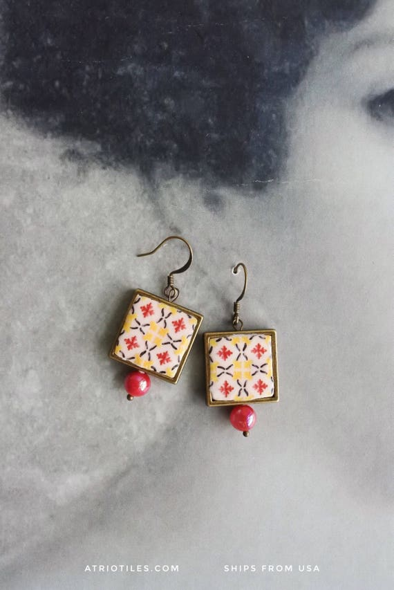 Earrings Tile Portugal Azulejos Antique Red Yellow Mosaic FRAMED,  Póvoa de Varzim  Building dated 1884- Gift Box Included 1063