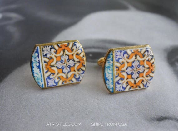 CUFF LINKS Portugal Tile Azulejo Antique 17th Century - from Évora Pousada  (see photos) Unisex _ gift box included 1135
